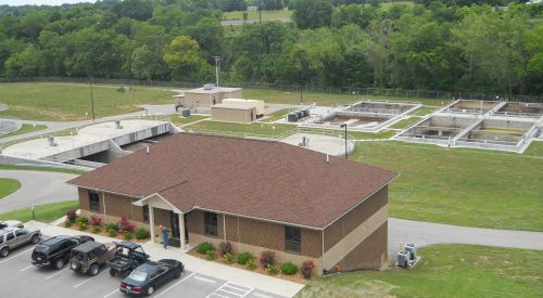 aerial view of wastewater treatment plant