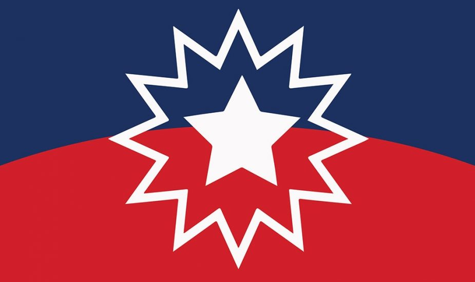 red and blue flag with Juneteenth star