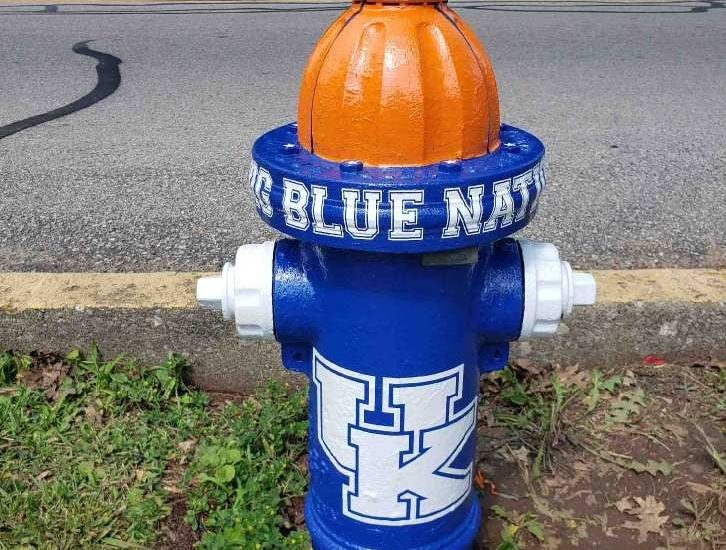 men painting fire hydrant blue