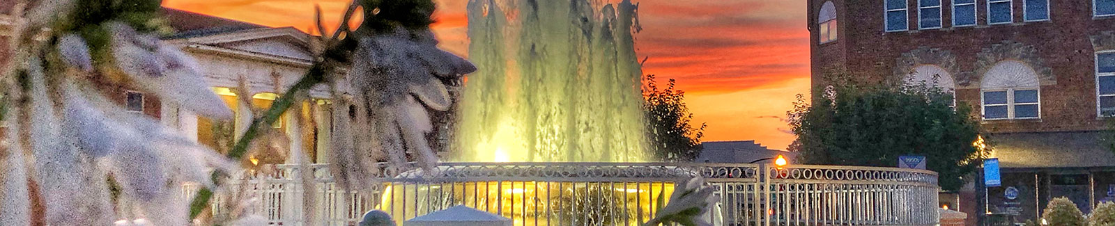 water fountain at sunset in downtown