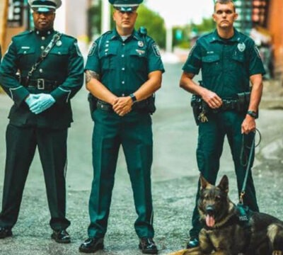 Officers with dog