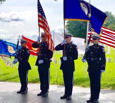 honor guard standing at attention